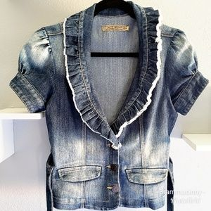 Distressed Fitted Ruffled Denim Jean Jacket